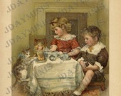 ON SALE Bess and Bertie at Tea, doll, cat, tea time, Scan, late 1800's, Instant Digital Download DB033