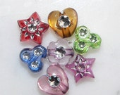 Assorted Plastic Bead Mix, Silver Bling Mix, Bead Soup Mix, Hearts, Stars, Clovers, 250 plus, Jewelry Supplies, Arts and Craft Supplies