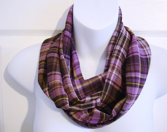 Purple Plaid Infinity Scarf Sheer Fabric Multi-color Tartan Fashion Scarf Patterned Circle Single Loop Tube Scarf Womens Scarves
