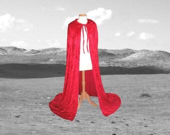 Red Cloak - Little Red Riding Hood -  Velvet - Wedding - Prom - Renaissance Festival Christmas