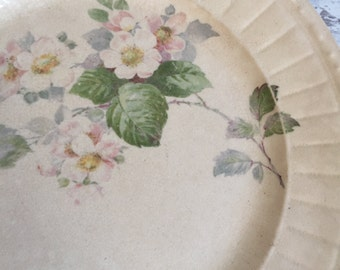 Antique Distressed Floral Plate - Alliance Pottery Co.