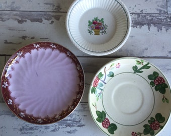 3 Old Dishes - Wedgewood, Titianware  S&S Porcelain Berry Bowl - Saucer