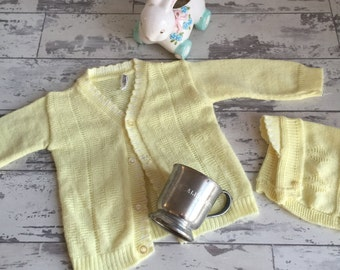 Vintage Baby Sweater and Hat - Yellow - c. 1960s - Newborn