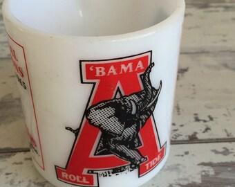 Vintage Alabama Milk Glass Mug - Commemorative SEC Football Championship Souvenir Cup