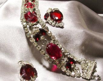 Vintage Ruby Red White Rhinestone Bracelet Set