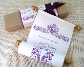 Elegant wedding invitation suite, in gold, purple and kraft {25}