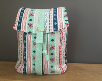 Women's Convertible Backpack- Lucy Backpack- Swoon Patterns- Ikat and Floral Stripes- Pastels- Mint- Coral- Navy- Handmade Backpack- KYEbags