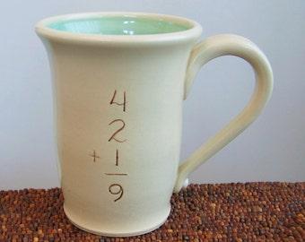 Funny Mug - Incorrect Math Mug in mint Green 12 oz. Ceramic Mug for Geeks or Teachers Gag Gift