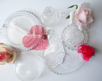 Glass Collection Bowls Plates Candlewick Depression Glass Set of Five - Vintage Tea Parties