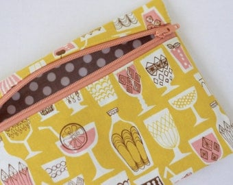 Zipper Pouch Martini Glass Retro Print Accessory Case