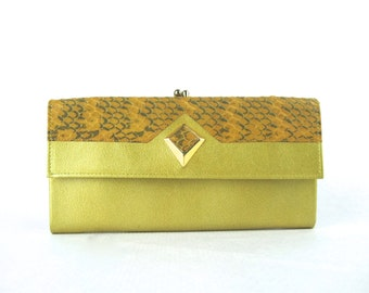 amazing 1950s green leather and snakeskin clutch wallet