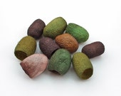 Hand dyed silk cocoons - autumn colours, dark brown, walnut, dark green, olive, moss, beige, set of 10, green and brown silk fibres