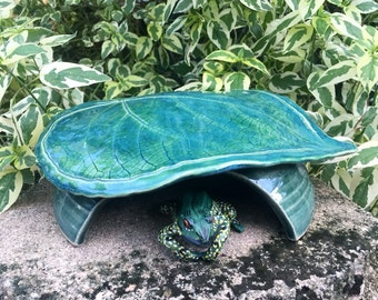 Handmade Toad House - Ceramic Toad Abode - Frog House - Ceramic Leaf - Garden Art - Garden Decor
