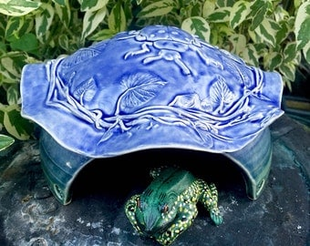 Ceramic Toad House - Frog House - Handmade Toad Abode - Pottery - Ladybug - Nature Inspired Pottery - Garden Art - Blue - Hamster House