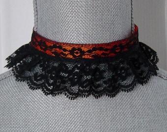 Black Lace and Orange Ribbon Choker Necklace, Gothic, Black Ruffle Lace, Vampire, Victorian, Black Lace Choker, Dark, Hipster, Halloween