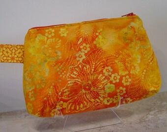 Wristlet Purse, Small Handbag, Make Up Case, Carry Essentials, Orange and Yellow Batik Fabric Purse, Wrist Handbag,Gift For Her