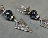 Pewter and Lampwork Beaded Earrings-Inviciti Butterfly Pewter-Artisan Earrings-Tribal-Primitive-Gothic-Victorian Earrings-SRAJD