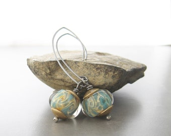aqua dangle earrings, rustic silver and lampwork glass dangle earrings