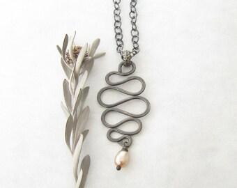 silver pendant necklace, oxidized silver pendant necklace