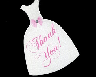 Wedding Dress Tags - Wedding Favor Tags - Bridal Shower Tags - Gift Tags - Pink - Bridal Gown - Die Cut - Wedding Gown - Thank You Tag
