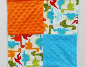 Dinosaur Baby Blanket - Small Blanket - Security Blanket - Lovey - Baby Shower Gift - Baby Boy Blanket - Orange - Blue