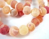 32 Coral Crackle Stone Frosted Agate Semi Precious 6mm Dyed - 8 in strand - S9006AG-CL32