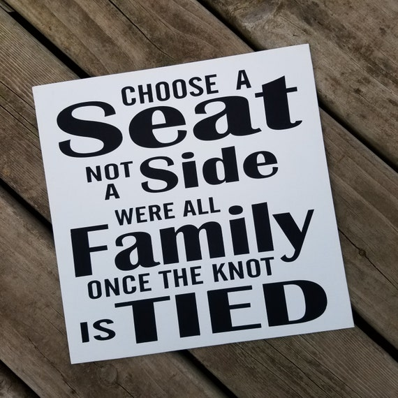 Choose a Seat not a Side Sign 12 x 12 Canvas Hand Painted Sign