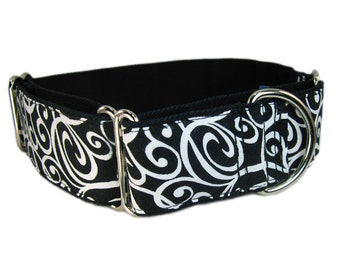K-nineCouture's 1.5 Inch Martingale Dog Collar - Greyhound Dog Collar - Black Dog Collar with White Abstract Spirals, Choose M, S or XS