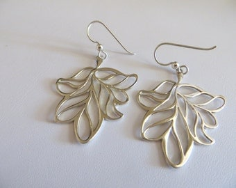 Sterling Silver Earrings-Long Silver Leaf Earrings
