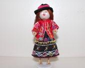 Handmade Felt Art Doll Peruvian Girl in Traditional Clothes
