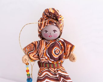 Handmade Felt Art Doll African Girl in Traditional Clothes, Handmade Dolls