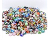 30x Mixed Murano Lampwork Single Core Glass Beads (Fit European Bracelet) - Charms