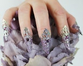 5 pcs Purple and Silver Finger Tip Claw Set, filigree rings, finger armor, nail armor