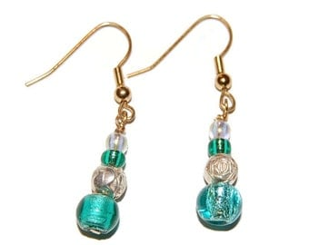 Teal with Silver Rose Bead Gold Beaded Earring