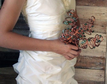Copper Wire and Sea-Green Crystal Alternative Bridal Bouquet: DISCONTINUING.