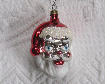 Glass Santa Ornament . German Santa Head Ornament . santa head . mercury santa head