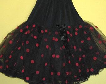 polka dot petticoat . black petticoat . square dancing .  red polka dots . vintage petticoat . tulle petticoat . 50's rockabilly skirt