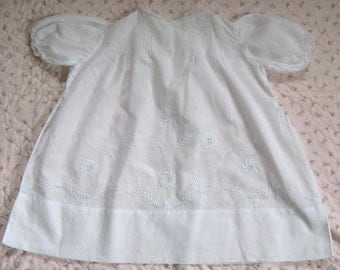 victorian baby dress . baptism baby dress . white on white embroidery . white batiste baby dress