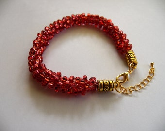 Cranberry Beaded Kumihimo Bracelet, SL Natural Pink High Quality Czech Seed Beads,Sparkles in the Sunlight