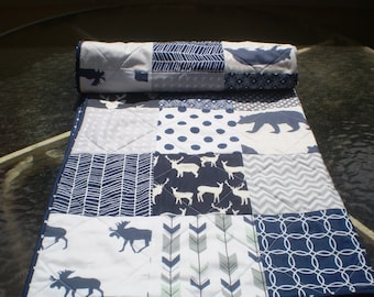 Baby quilt-crib quilt,crib bedding,baby bedding quilt,woodland,arrow,rustic baby quilt,grey,navy,moose,deer,bear,toddler,Woodsy Silhouette