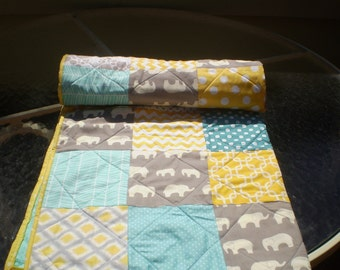 Baby quilt,elephant baby quilt,baby boy bedding,baby girl quilt,grey,teal,yellow, woodland,rustic,organic,elephant,chevron ,Sun sea & Ellie