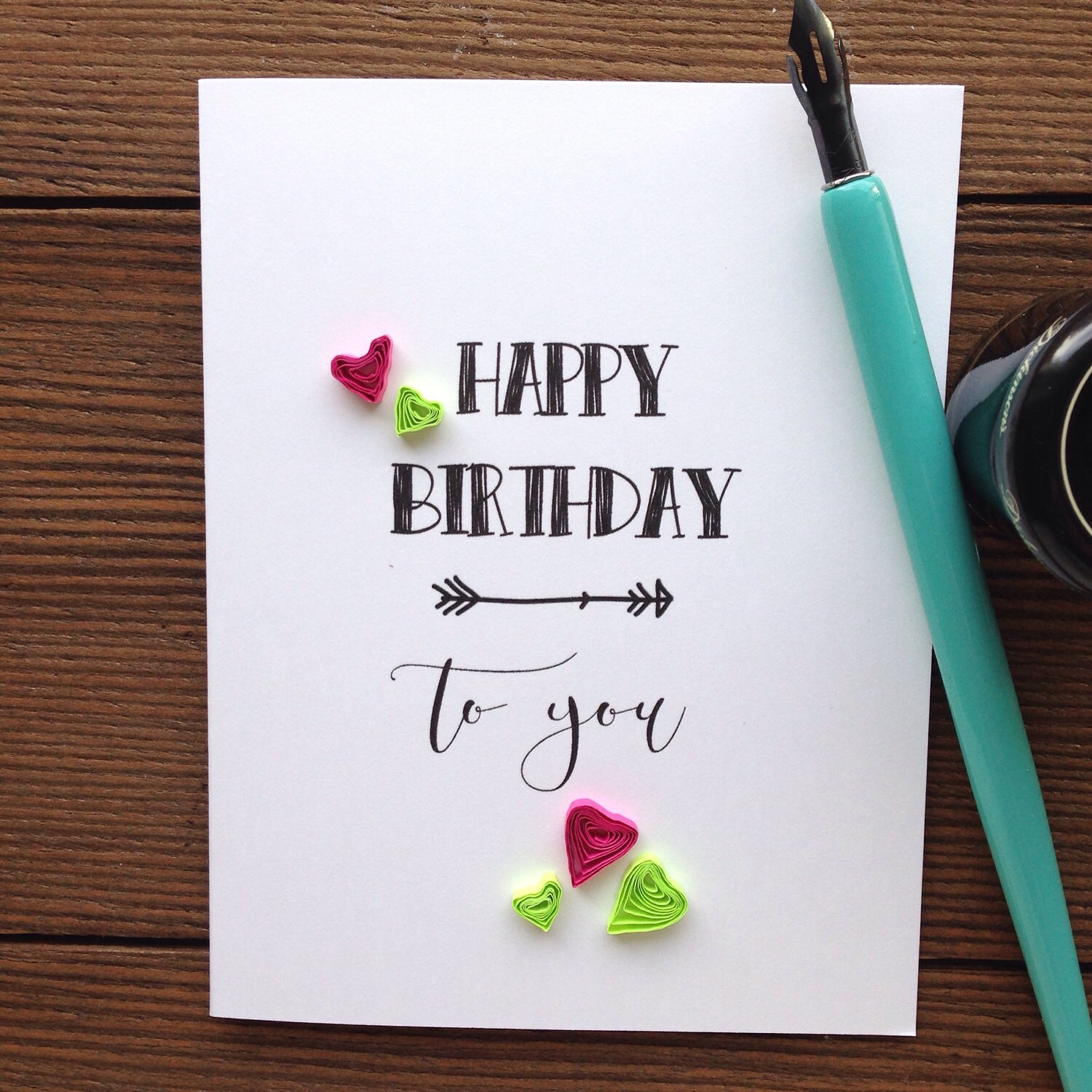 Quilled Birthday Hearts Card // HAPPY BIRTHDAY To You
