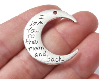 """5, """"I love You to the moon and back"""" Pendant 9.3x30mm, Hole: Approx. 2mm"""