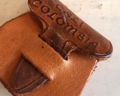 Tiny Vintage Miniature Leather Coin Purse Tooled Leather Colombia Key Chain