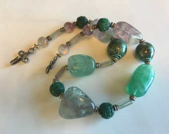 Jade and Flourite Polished Stone Necklace