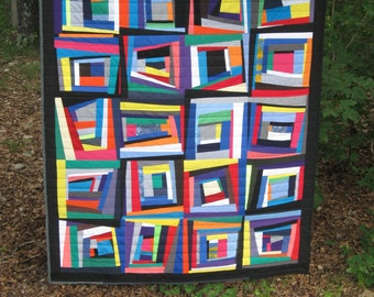 "SALE - - modern, nap quilt, picnic quilt, improv, wonky ..63"" x 58"".....ready to ship"