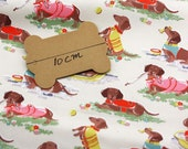 4129 - Cath Kidston Sausage Dogs (Light Beige) Cotton Canvas Fabric - 57 Inch (Width) x 1/2 Yard (Length)