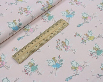 4227 - Cath Kidston Garden Fairies (Light Pink) Cotton Canvas Fabric - 57 Inch (Width) x 1/2 Yard (Length)