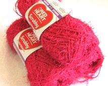 Red Heart Scrubby yarn, BUBBLEGUM pink, worsted weight, washcloth dishcloth polyester yarn, bath toy yarn