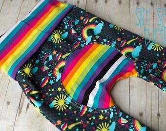 Maxaloones, Sunshine and Rainbows cloth diaper pants, grow with me pants, babywearing pants